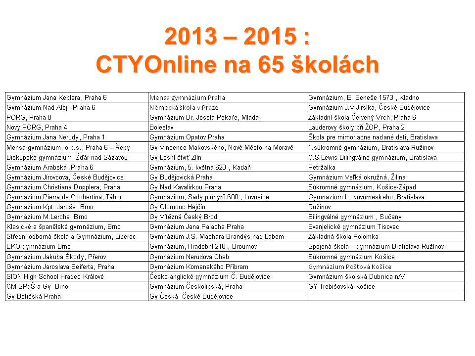 2013 – 2015 : CTYOnline na 65 školách