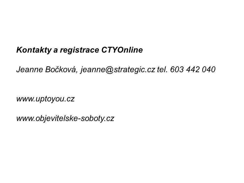 Kontakty a registrace CTYOnline Jeanne Bočková, jeanne@strategic.cz tel.