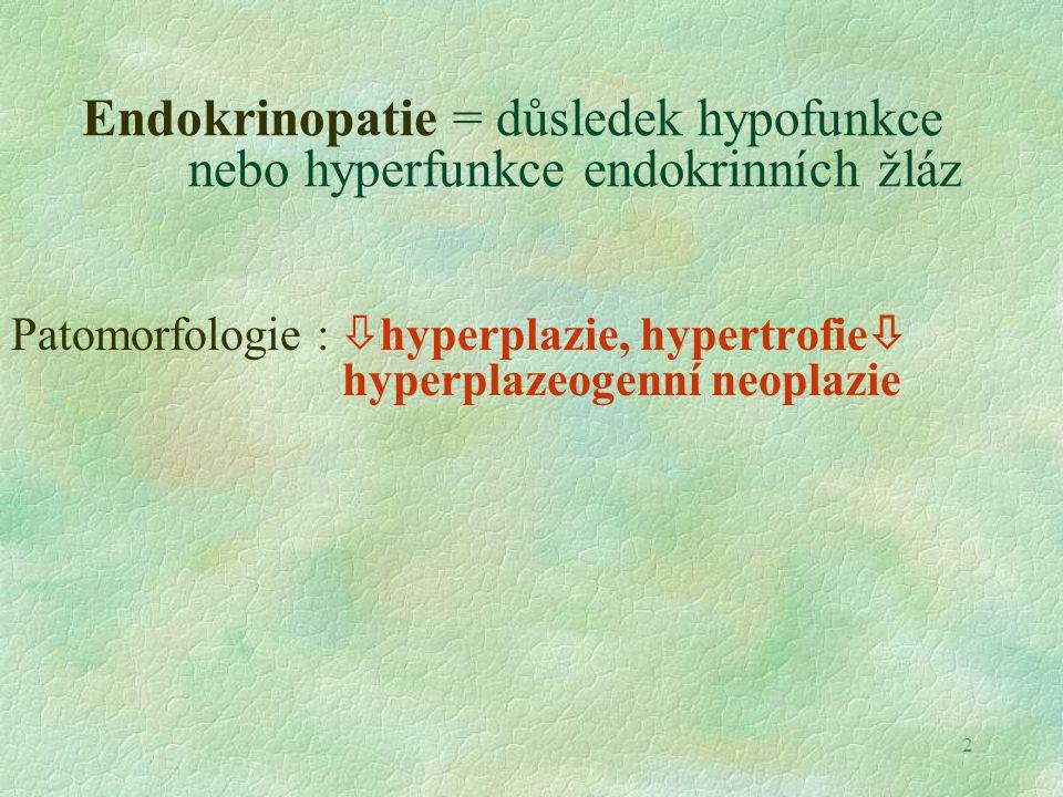 13 Hyperadrenokorticismus  Cushingův syndrom  Cushingův syndrom (velmi častý u psů ) Obezita, svalová atrofie, hepatomegalie (steatóza, glykogenóza), mírná imunosuprese, Alopecie, hyperpigmentace, atrofie epidermis kalcifikace, Etiol.: funkční nádor kůry, idiopatická hyperplazie kůry u pudlů, iatrogenní, snížená citlivost hypofýzy na kortikoidy v krvi Hypoadrenokorticismus Etiol.: idiopatická atrofie kůry, vaskulární léze, iatrogenní sek.