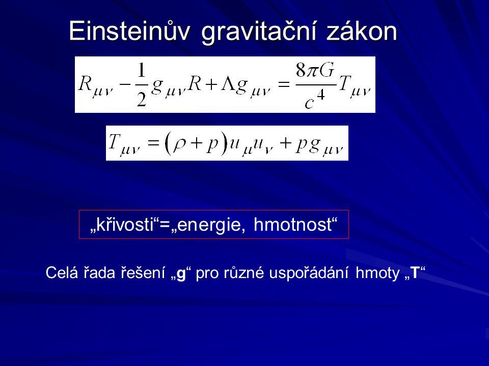 """Einsteinův gravitační zákon """"křivosti""""=""""energie, hmotnost"""" Celá řada řešení """"g"""" pro různé uspořádání hmoty """"T"""""""