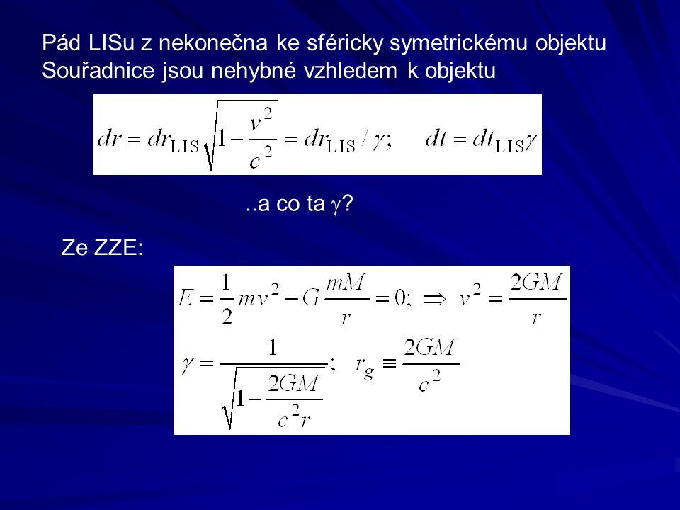 Pád LISu z nekonečna ke sféricky symetrickému objektu Souřadnice jsou nehybné vzhledem k objektu..a co ta  ? Ze ZZE: