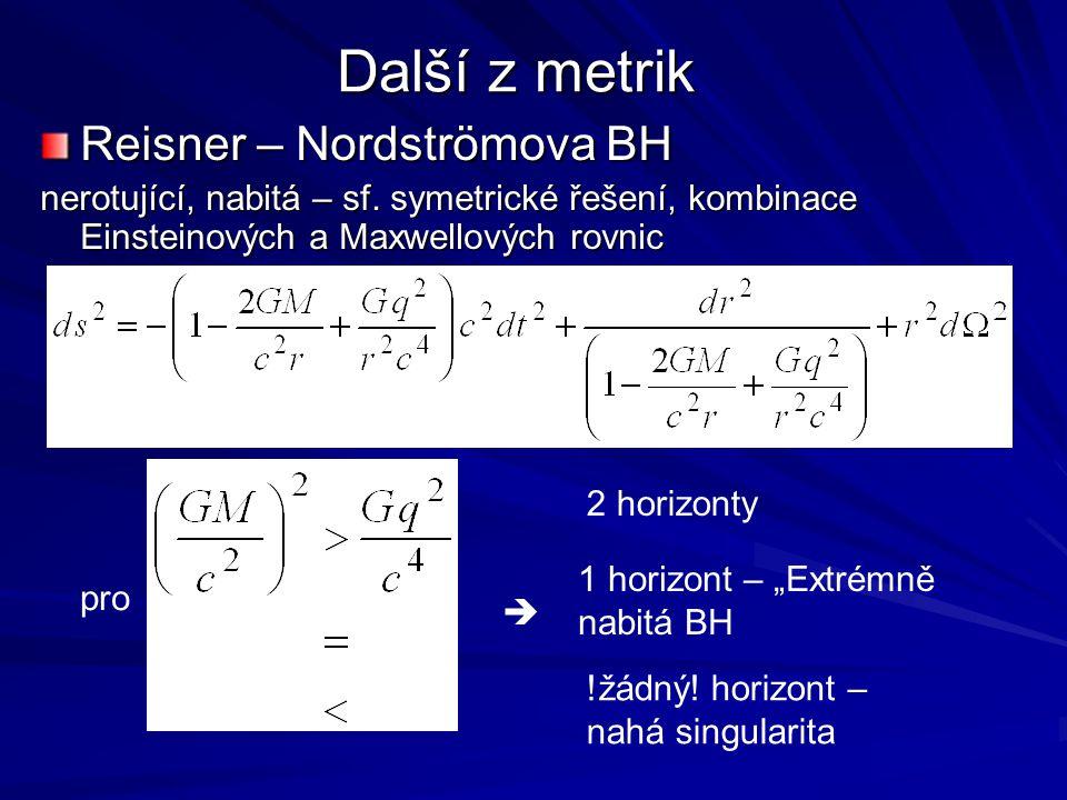 Další z metrik Reisner – Nordströmova BH nerotující, nabitá – sf. symetrické řešení, kombinace Einsteinových a Maxwellových rovnic pro  2 horizonty 1