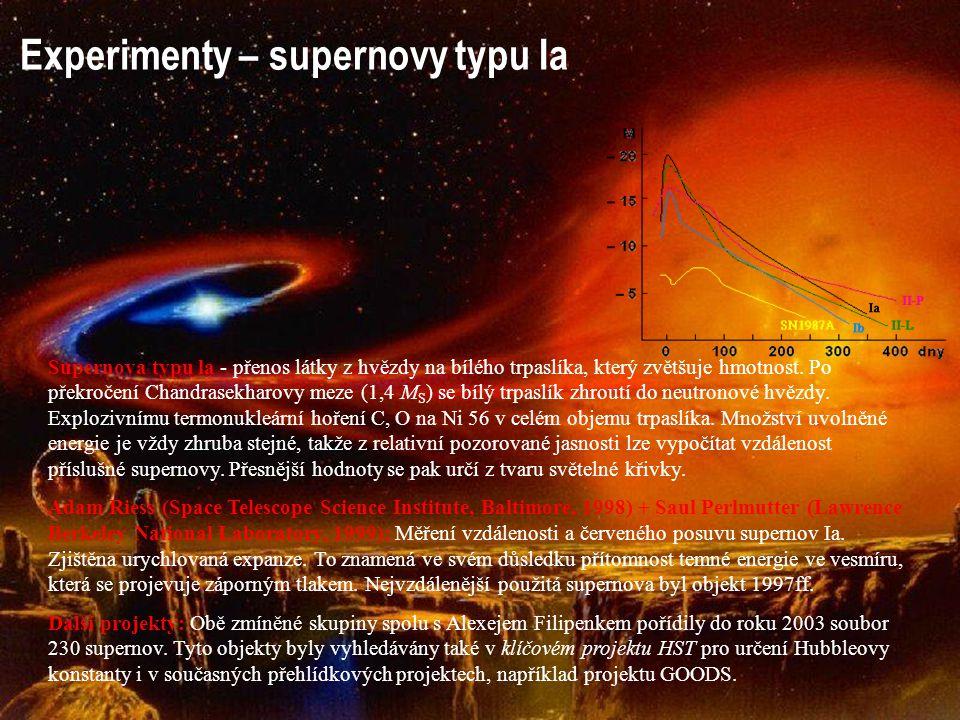 Experimenty – supernovy typu Ia Supernova typu la - přenos látky z hvězdy na bílého trpaslíka, který zvětšuje hmotnost. Po překročení Chandrasekharovy