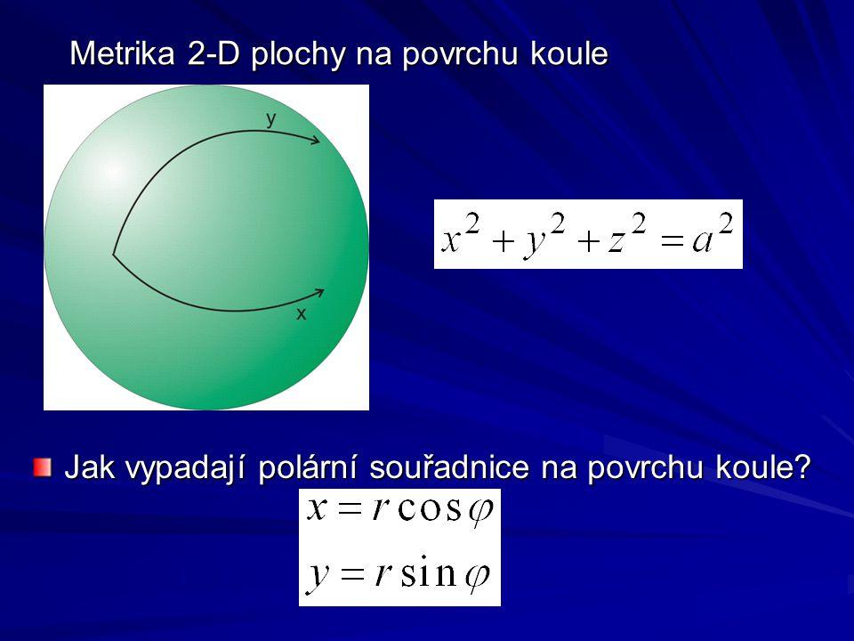Metrika 2-D plochy na povrchu koule Jak vypadají polární souřadnice na povrchu koule?