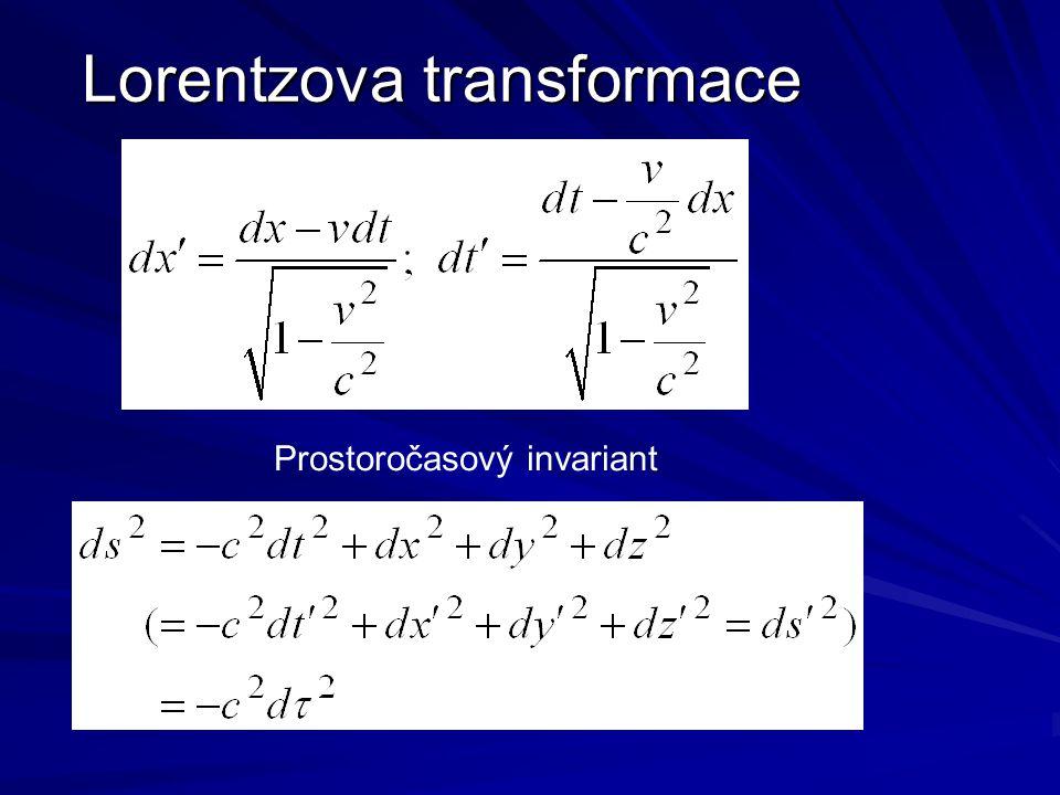 Lorentzova transformace Prostoročasový invariant