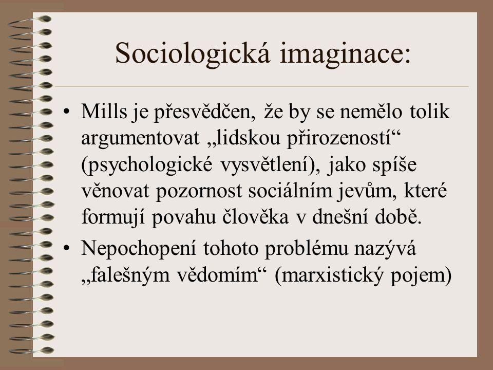 """Sociologická imaginace: Mills tvrdí, že dominující vědecký přístup má vliv i na interpretaci sociální reality (darwinismus) """"Scientismus přírodních věd a nekritická adorace technologií, je dle M."""