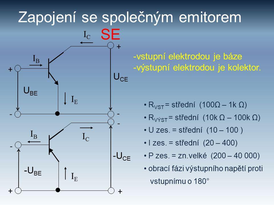 Zapojení se společným emitorem -vstupní elektrodou je báze -výstupní elektrodou je kolektor.