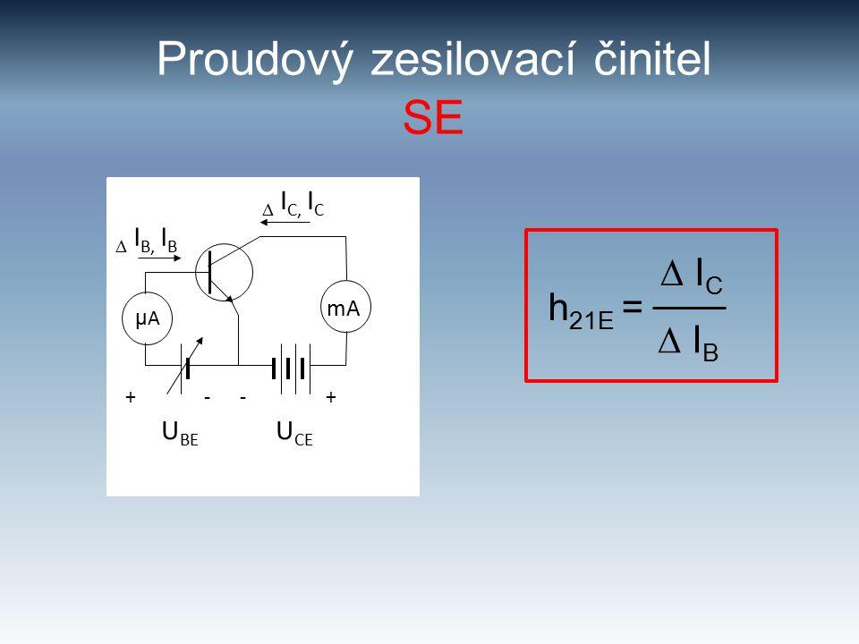 Proudový zesilovací činitel SE h 21E =  I C  I B μ A mA  I B, I B  I C, I C +--+ U BE U CE