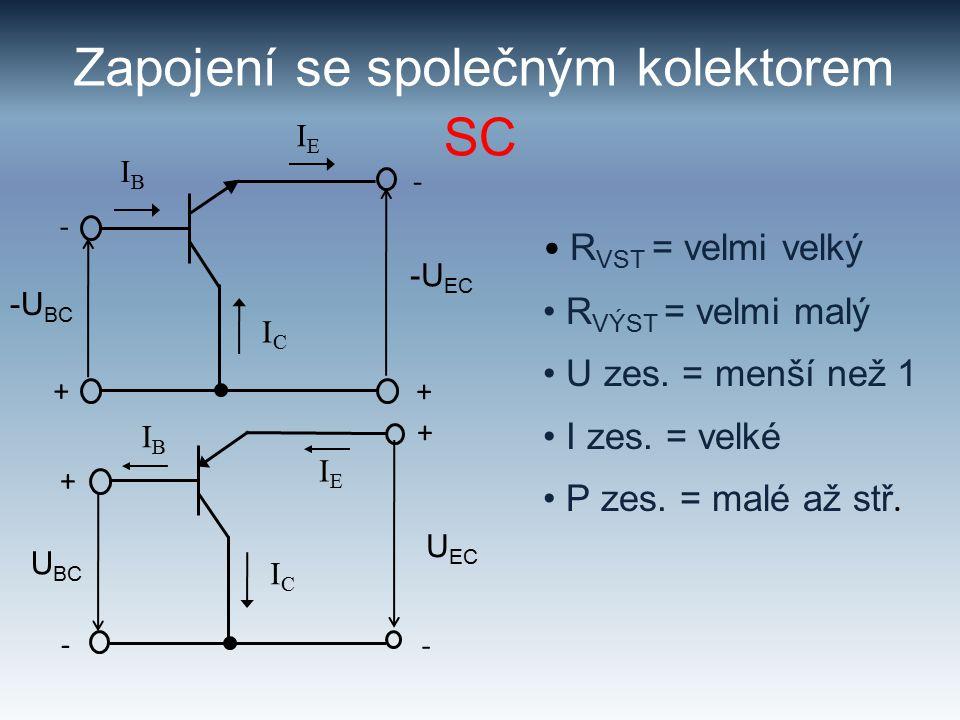 Zapojení se společným kolektorem R VST = velmi velký R VÝST = velmi malý U zes.