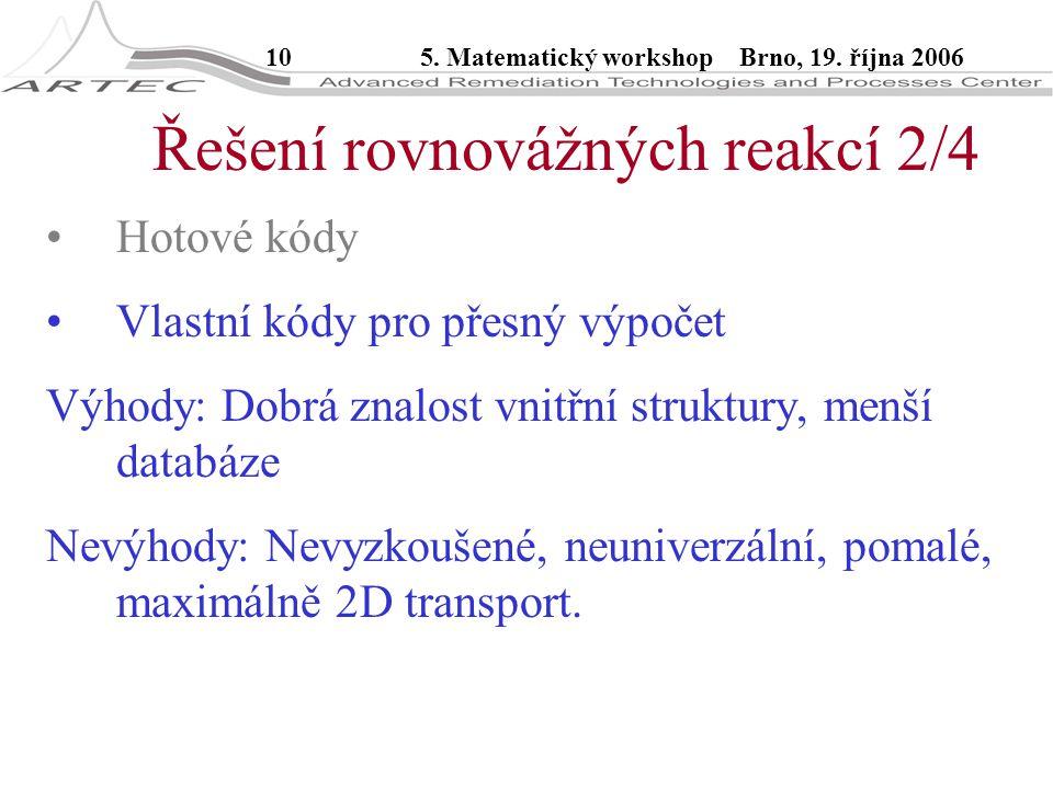 105. Matematický workshop Brno, 19. října 2006 Řešení rovnovážných reakcí 2/4 Hotové kódy Vlastní kódy pro přesný výpočet Výhody: Dobrá znalost vnitřn