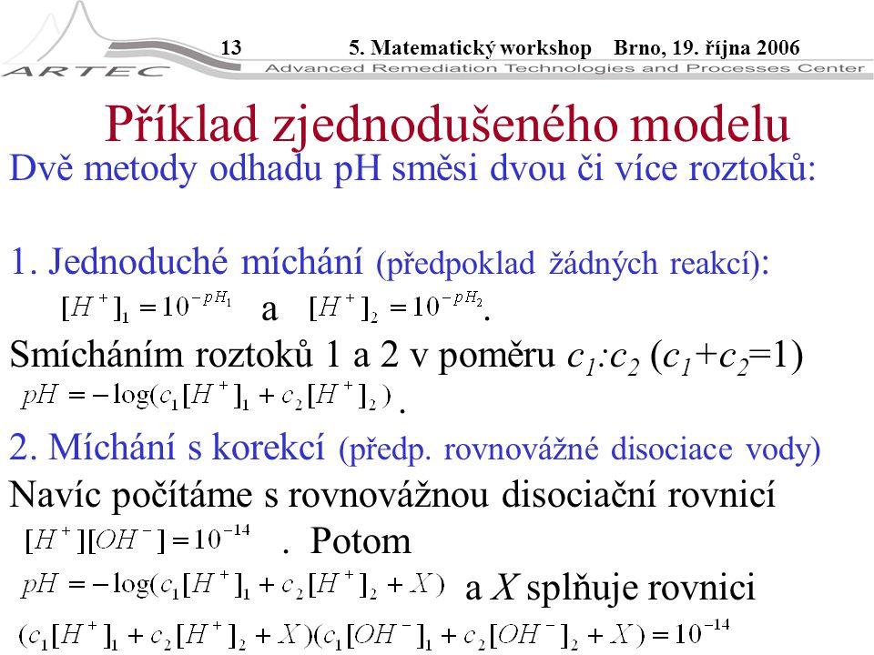 135. Matematický workshop Brno, 19. října 2006 Příklad zjednodušeného modelu Dvě metody odhadu pH směsi dvou či více roztoků: 1. Jednoduché míchání (p
