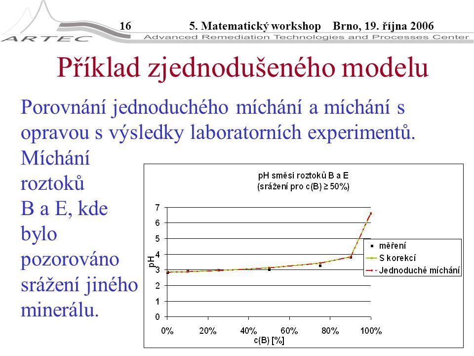 165. Matematický workshop Brno, 19. října 2006 Příklad zjednodušeného modelu Porovnání jednoduchého míchání a míchání s opravou s výsledky laboratorní