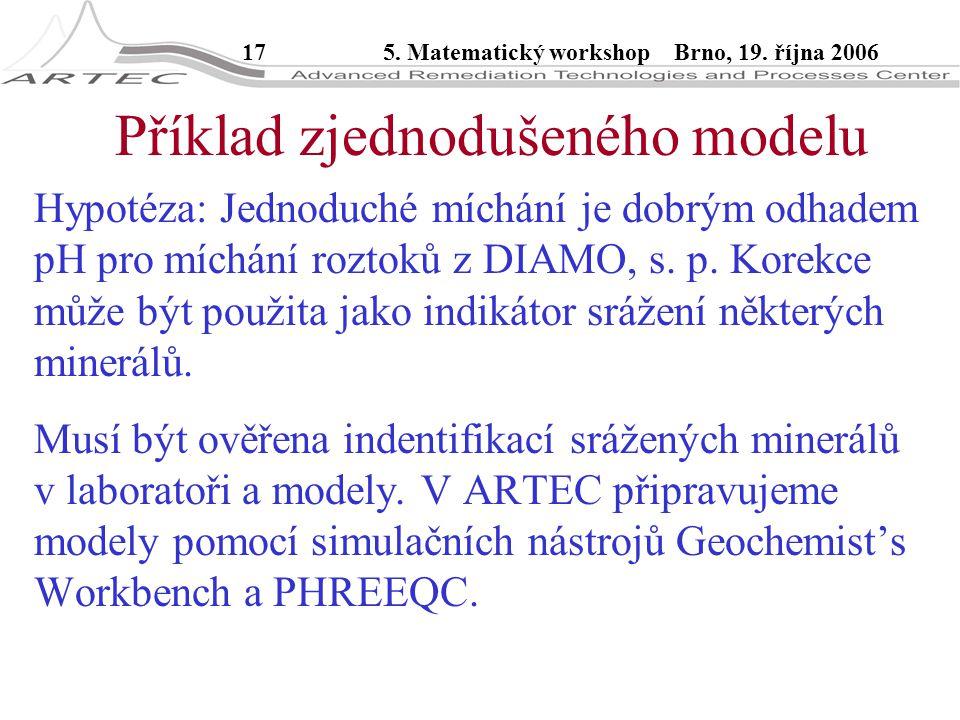 175. Matematický workshop Brno, 19. října 2006 Příklad zjednodušeného modelu Hypotéza: Jednoduché míchání je dobrým odhadem pH pro míchání roztoků z D