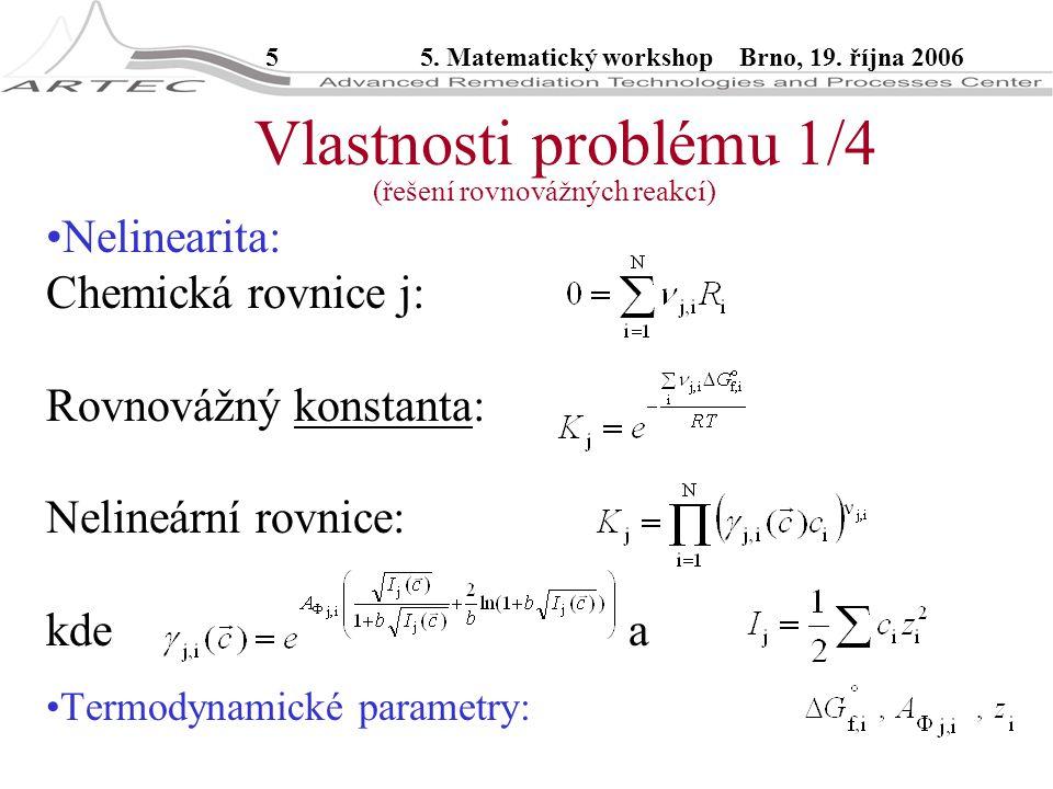 55. Matematický workshop Brno, 19. října 2006 Nelinearita: Chemická rovnice j: Rovnovážný konstanta: Nelineární rovnice: kde a Termodynamické parametr