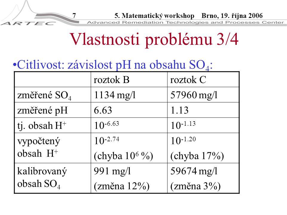 75. Matematický workshop Brno, 19. října 2006 Citlivost: závislost pH na obsahu SO 4 : Vlastnosti problému 3/4 roztok Broztok C změřené SO 4 1134 mg/l