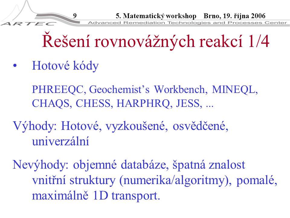 95. Matematický workshop Brno, 19. října 2006 Řešení rovnovážných reakcí 1/4 Hotové kódy PHREEQC, Geochemist's Workbench, MINEQL, CHAQS, CHESS, HARPHR