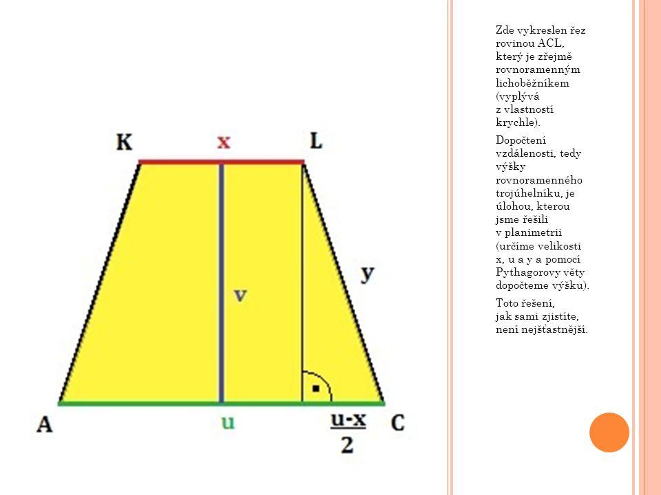 Zde vykreslen řez rovinou ACL, který je zřejmě rovnoramenným lichoběžníkem (vyplývá z vlastností krychle). Dopočtení vzdálenosti, tedy výšky rovnorame