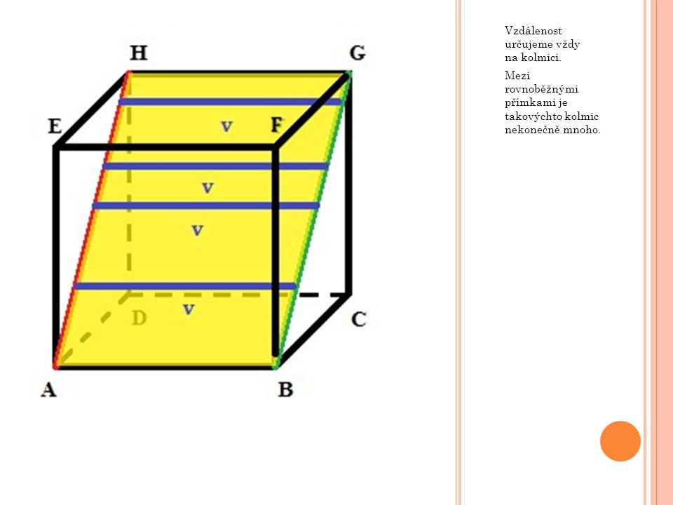 Vzdálenost určujeme vždy na kolmici. Mezi rovnoběžnými přímkami je takovýchto kolmic nekonečně mnoho.