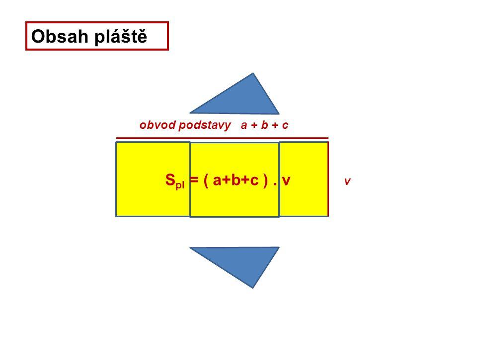 v obvod podstavy a + b + c Obsah pláště S pl = ( a+b+c ). v