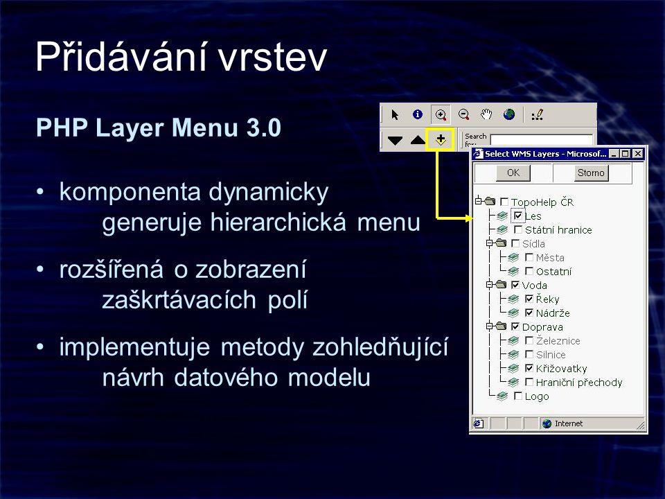 PHP Layer Menu 3.0 komponenta dynamicky generuje hierarchická menu rozšířená o zobrazení zaškrtávacích polí implementuje metody zohledňující návrh datového modelu Přidávání vrstev