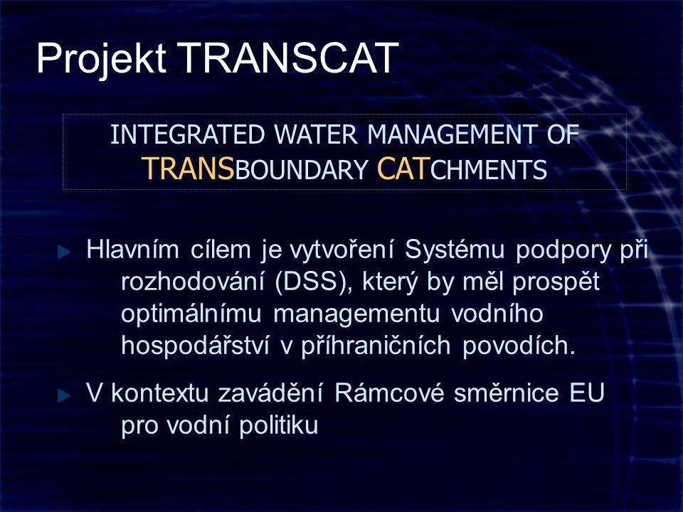INTEGRATED WATER MANAGEMENT OF TRANS BOUNDARY CAT CHMENTS Hlavním cílem je vytvoření Systému podpory při rozhodování (DSS), který by měl prospět optimálnímu managementu vodního hospodářství v příhraničních povodích.