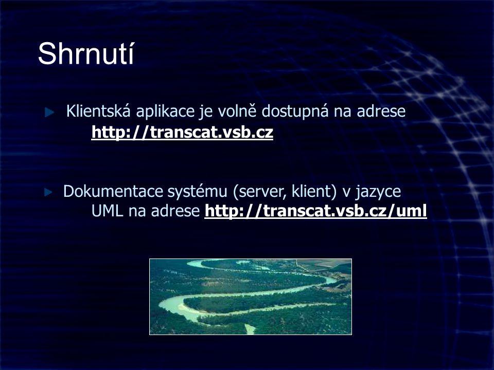 Shrnutí Klientská aplikace je volně dostupná na adrese http://transcat.vsb.cz http://transcat.vsb.cz Dokumentace systému (server, klient) v jazyce UML na adrese http://transcat.vsb.cz/umlhttp://transcat.vsb.cz/uml