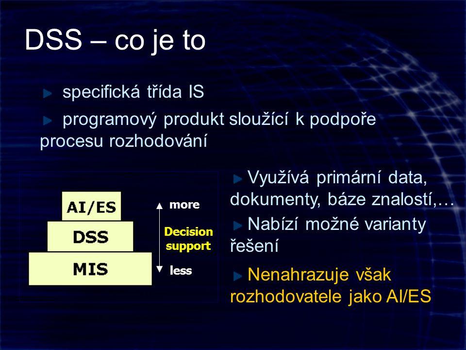DSS – co je to Decision support more less programový produkt sloužící k podpoře procesu rozhodování specifická třída IS Nabízí možné varianty řešení Využívá primární data, dokumenty, báze znalostí,… Nenahrazuje však rozhodovatele jako AI/ES