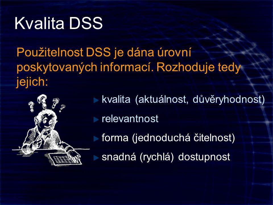 Kvalita DSS Použitelnost DSS je dána úrovní poskytovaných informací.