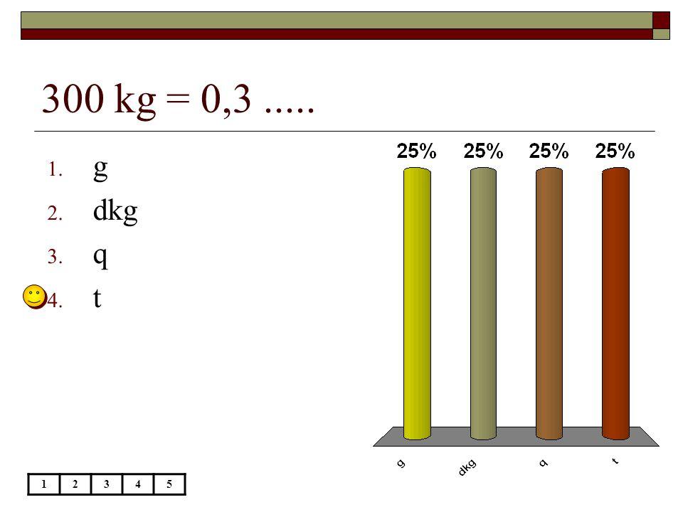 300 kg = 0,3..... 12345 1. g 2. dkg 3. q 4. t