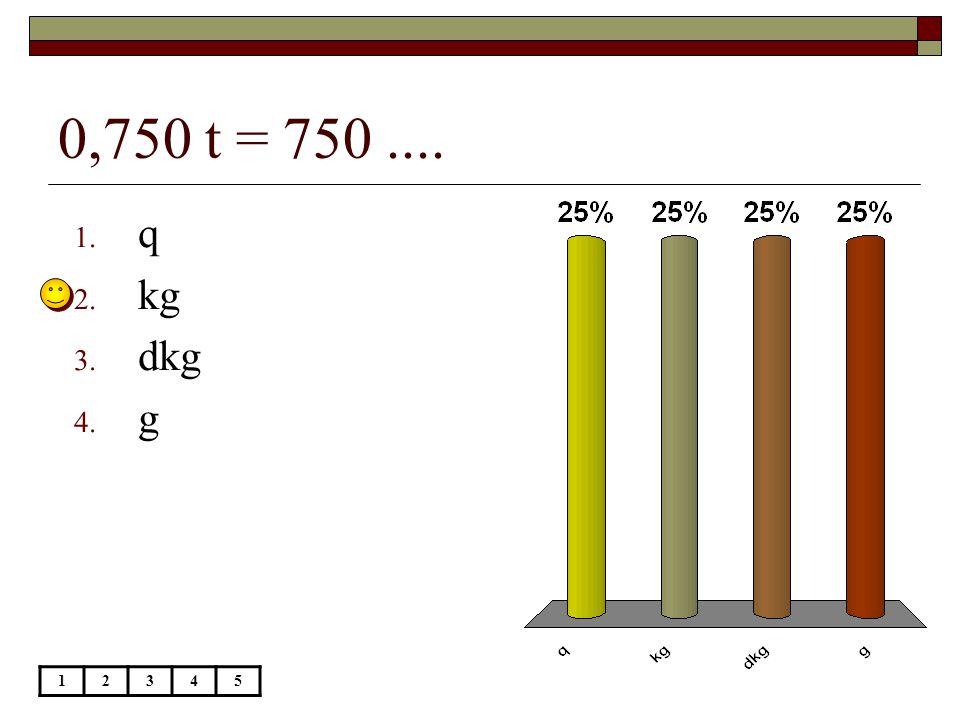 0,750 t = 750.... 12345 1. q 2. kg 3. dkg 4. g