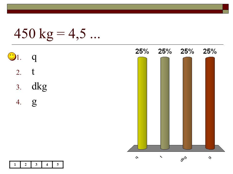 450 kg = 4,5... 12345 1. q 2. t 3. dkg 4. g