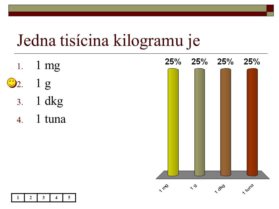 Jedna tisícina kilogramu je 12345 1. 1 mg 2. 1 g 3. 1 dkg 4. 1 tuna
