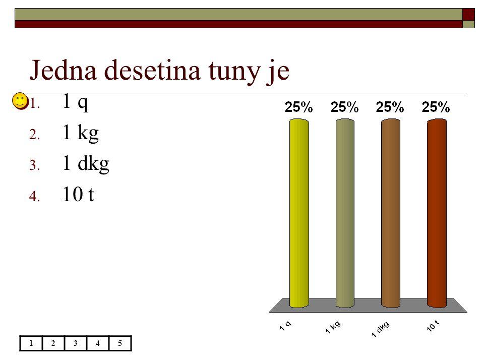 Jedna desetina tuny je 12345 1. 1 q 2. 1 kg 3. 1 dkg 4. 10 t