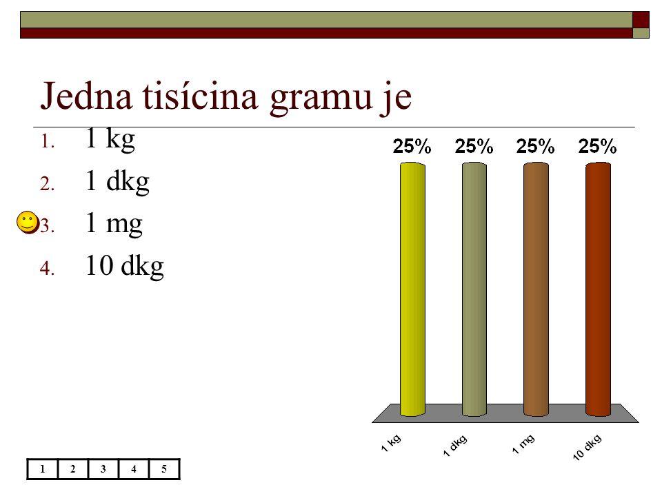 Jedna tisícina gramu je 12345 1. 1 kg 2. 1 dkg 3. 1 mg 4. 10 dkg