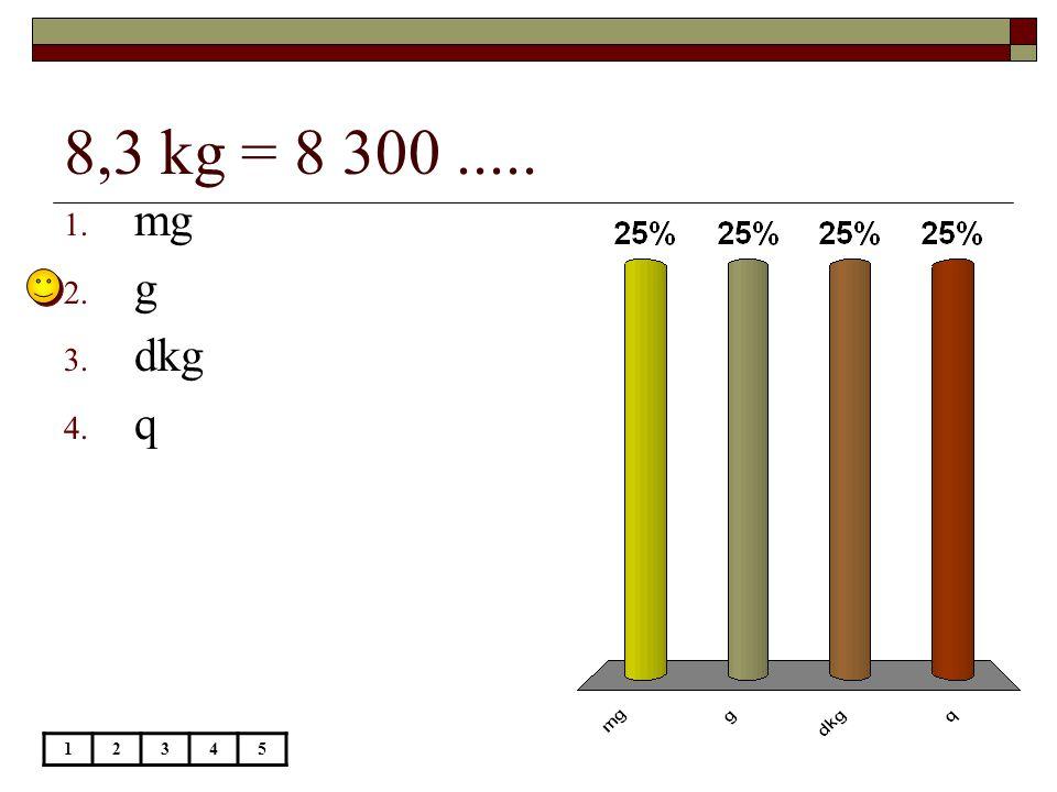 27 dkg = 270.... 12345 1. mg 2. g 3. dkg 4. kg
