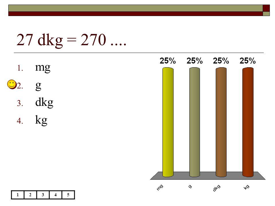 45 q = 4,5.... 12345 1. t 2. kg 3. dkg 4. g