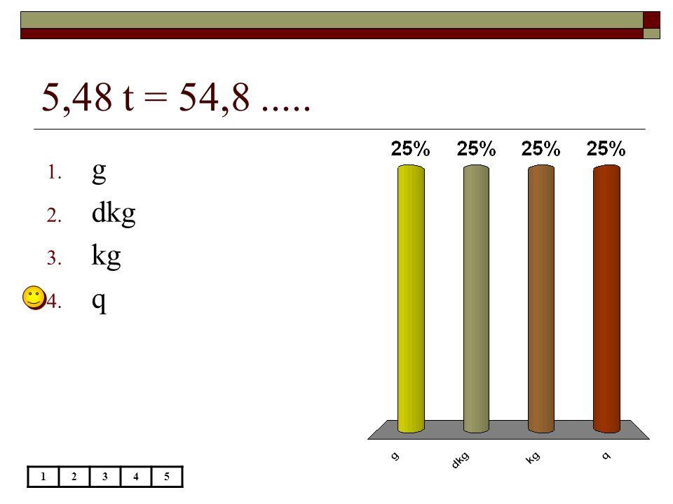5,48 t = 54,8..... 12345 1. g 2. dkg 3. kg 4. q