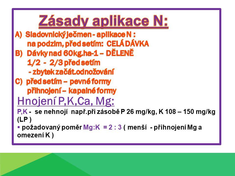 Hnojení P,K,Ca, Mg: P,K - se nehnojí např.při zásobě P 26 mg/kg, K 108 – 150 mg/kg (LP )  požadovaný poměr Mg:K = 2 : 3 ( menší - přihnojení Mg a omezení K )