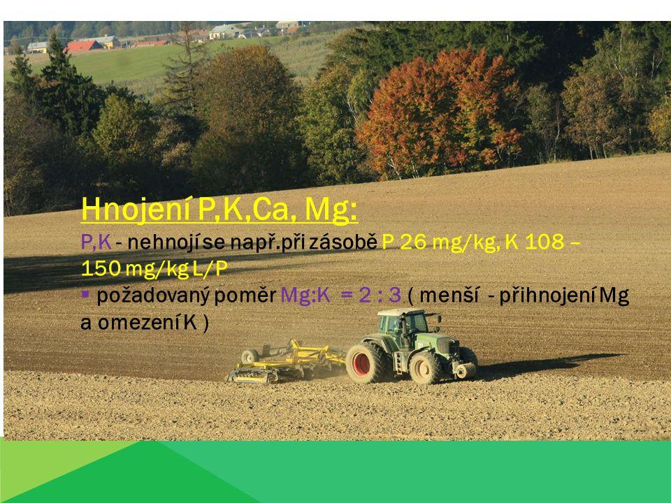 Hnojení P,K,Ca, Mg: P,K - nehnojí se např.při zásobě P 26 mg/kg, K 108 – 150 mg/kg L/P  požadovaný poměr Mg:K = 2 : 3 ( menší - přihnojení Mg a omezení K )