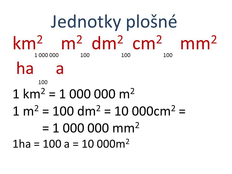 km 2 m 2 dm 2 cm 2 mm 2 1 000 000 100 100 100 ha 100 a Jednotky plošné 1 km 2 = 1 000 000 m 2 1 m 2 = 100 dm 2 = 10 000cm 2 = = 1 000 000 mm 2 1ha = 1