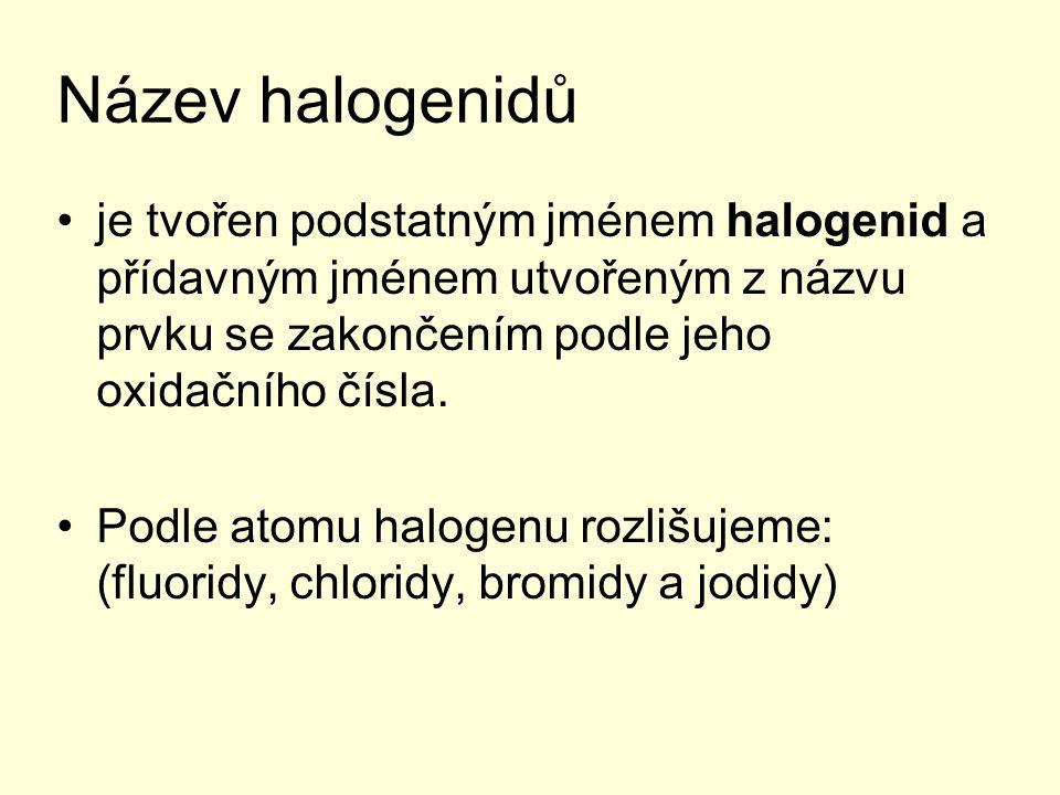 Název halogenidů je tvořen podstatným jménem halogenid a přídavným jménem utvořeným z názvu prvku se zakončením podle jeho oxidačního čísla.
