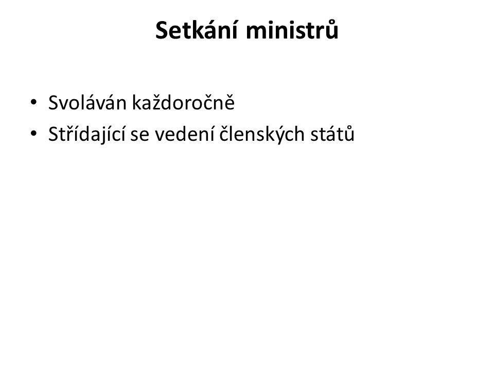 Setkání ministrů Svoláván každoročně Střídající se vedení členských států
