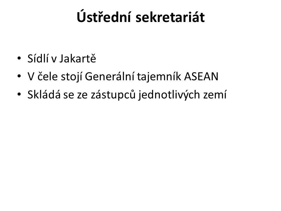 Ústřední sekretariát Sídlí v Jakartě V čele stojí Generální tajemník ASEAN Skládá se ze zástupců jednotlivých zemí