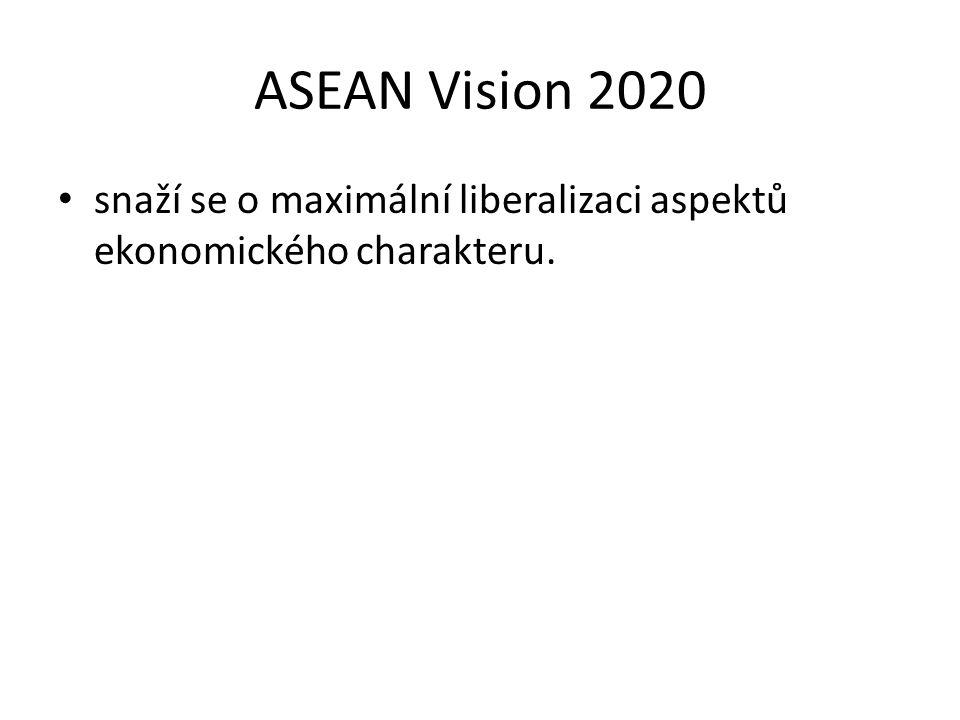 ASEAN Vision 2020 snaží se o maximální liberalizaci aspektů ekonomického charakteru.
