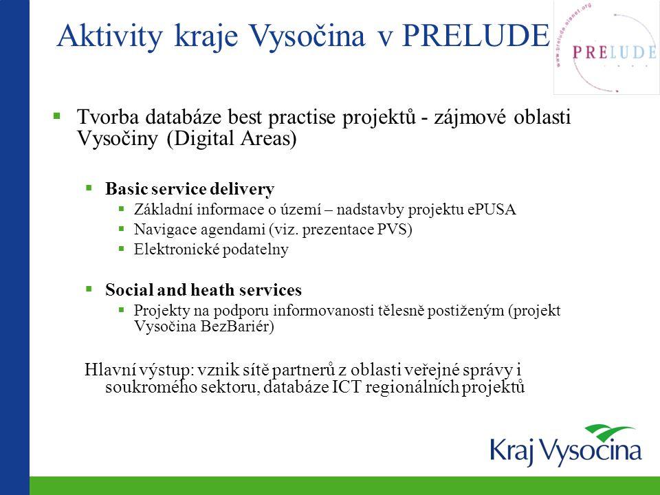 Aktivity kraje Vysočina v PRELUDE  Tvorba databáze best practise projektů - zájmové oblasti Vysočiny (Digital Areas)  Basic service delivery  Zákla