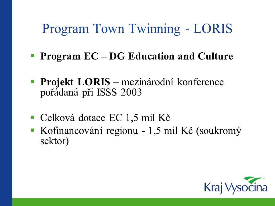  Program EC – DG Education and Culture  Projekt LORIS – mezinárodní konference pořádaná při ISSS 2003  Celková dotace EC 1,5 mil Kč  Kofinancování