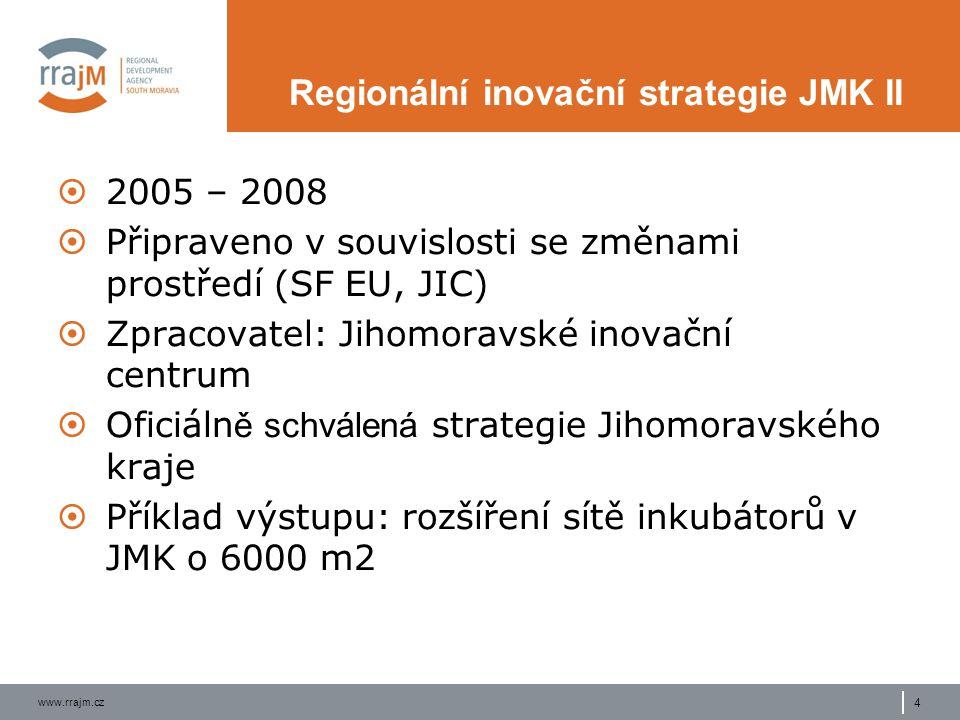 www.rrajm.cz 4 Regionální inovační strategie JMK II  2005 – 2008  Připraveno v souvislosti se změnami prostředí (SF EU, JIC)  Zpracovatel: Jihomoravské inovační centrum  Oficiáln ě schválená strategie Jihomoravského kraje  Příklad výstupu: rozšíření sítě inkubátorů v JMK o 6000 m2
