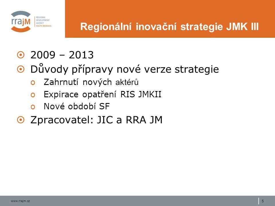 www.rrajm.cz 5 Regionální inovační strategie JMK III  2009 – 2013  Důvody přípravy nové verze strategie oZahrnutí nových aktérů oExpirace opatření RIS JMKII oNové období SF  Zpracovatel: JIC a RRA JM