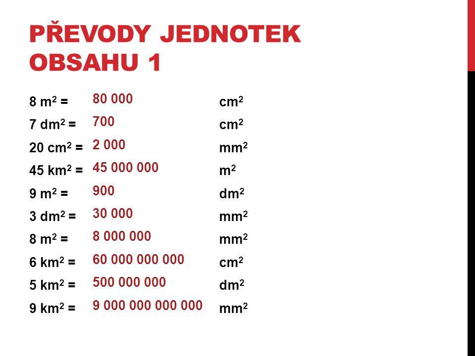 PŘEVODY JEDNOTEK OBSAHU 1 8 m 2 = cm 2 7 dm 2 = cm 2 20 cm 2 = mm 2 45 km 2 = m 2 9 m 2 = dm 2 3 dm 2 = mm 2 8 m 2 = mm 2 6 km 2 = cm 2 5 km 2 = dm 2