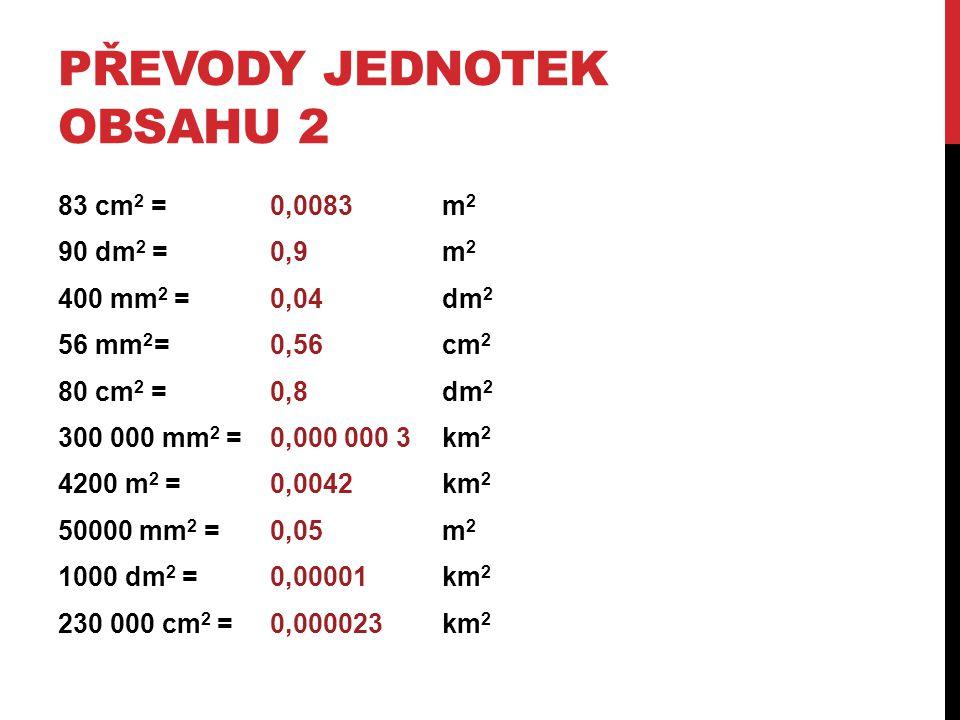 PŘEVODY JEDNOTEK OBSAHU 2 83 cm 2 = m 2 90 dm 2 =m 2 400 mm 2 =dm 2 56 mm 2 =cm 2 80 cm 2 = dm 2 300 000 mm 2 = km 2 4200 m 2 = km 2 50000 mm 2 = m 2